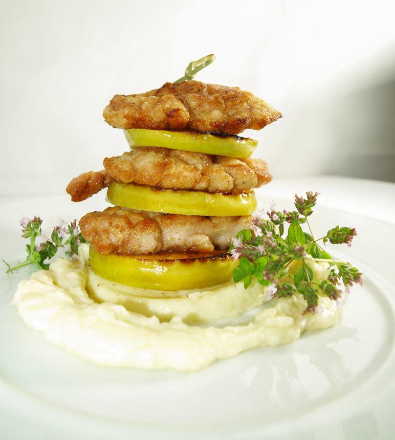 przepis grasica cielęca karmelizowana antonówka i krem pietruszkowy